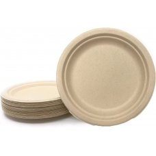 Sugarcane Dinner Plates 230mm Natural P50x5