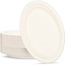 Sugarcane Oval Plates 325x260mm White P50x5