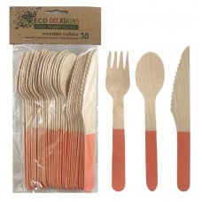 Wooden Cutlery Sets Rose Gold P30x10