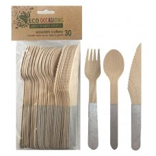 Wooden Cutlery Sets Silver P30x10
