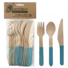 Wooden Cutlery Sets Light Blue P30x10