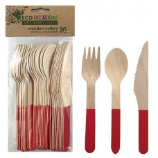 Wooden Cutlery Sets Red P30x10