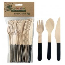 Wooden Cutlery Sets Black P30x10