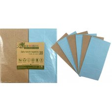 Napkins Lunch 1/8 fold Light Blue & Kraft P20x10