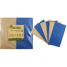 Napkins Lunch 1/8 fold Dark Blue & Kraft P20x10