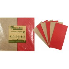 Napkins Lunch 1/8 fold Red & Kraft P20x10