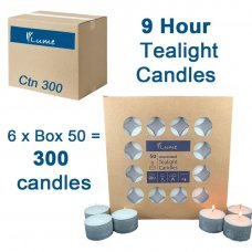 Lume Tealight Candles 9 Hour Box 50 x 6 Ctn 300