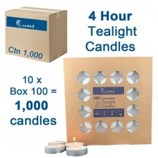 Lume Tealight Candles 4 Hour Box 100 x 10 Ctn 1000