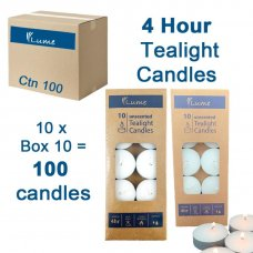 Lume Tealight Candles 4 Hour Box 10 Inner 10