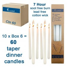 Lume Taper Dinner Candles White 250x21mm Box 6 Inner 10