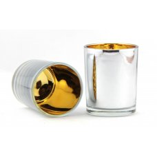 Glass Candle Holder Votive 65mm Silver/Gold Box 12
