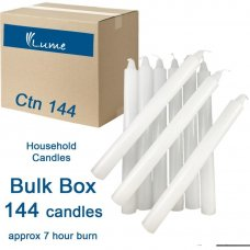Lume Household Candles 200x21mm White Bulk Box 144