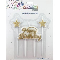 Happy Birthday Candle Plaque +Stars Glitter Gold 1 Set