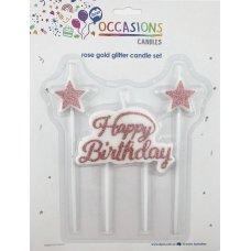 Happy Birthday Candle Plaque+Stars Gliter Rosegold 1 Set