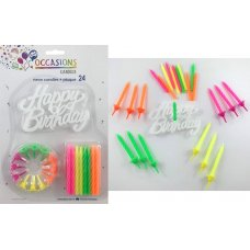 Neon Candles 12 holders Happy Birthday Plaque P24