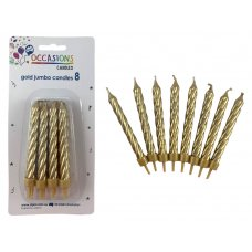 Birthday Candles Jumbo Spiral Gold P8