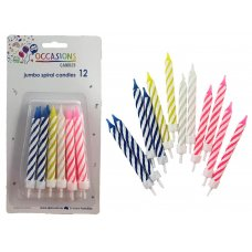 Birthday Candles Jumbo Spiral with holders P12