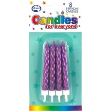 Metallic Purple Jumbo Candles with holders P8