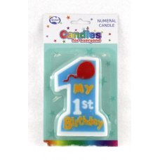 1st Birthday Boy Jumbo Candle 1 Shape P1