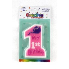 1st Birthday Girl Jumbo Candle 1 Shape P1