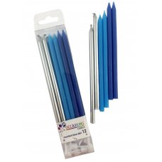 Blues & Metallic Slim Candles 120mm with Holders Box12