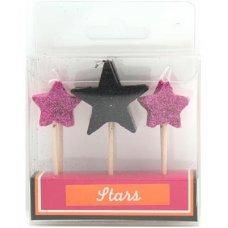 SPECIAL! Stars Black & Pink Glitter 80mm Box