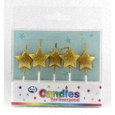 Stars Glitter Gold Candles PVC 5