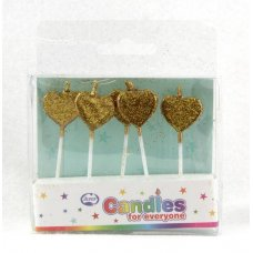 Hearts Glitter Gold Candles PVC 5