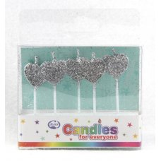 Hearts Glitter Silver Candles PVC 5