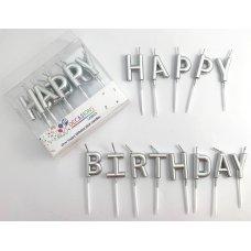 Happy Birthday Pick Candles Metallic Silver PVC Box