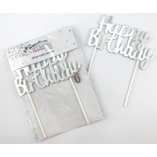 Happy Birthday Cake Topper Metallic Silver P1