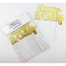 Happy Birthday Cake Topper Metallic Gold P1