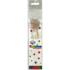 Rose Gold Glitter Long Stick Candle STAR P1
