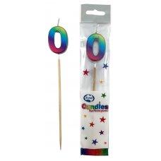 Rainbow Metallic Long Stick Candle #0 P1
