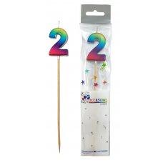 Rainbow Metallic Long Stick Candle #2 P1