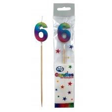 Rainbow Metallic Long Stick Candle #6 P1