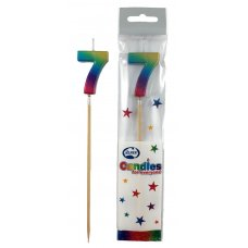 Rainbow Metallic Long Stick Candle #7 P1