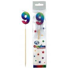 Rainbow Metallic Long Stick Candle #9 P1