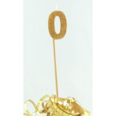 Gold Glitter Long Stick Candle #0 P1