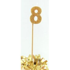 Gold Glitter Long Stick Candle #8 P1