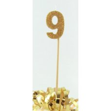 Gold Glitter Long Stick Candle #9 P1