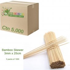 Bamboo Skewer 3mm x 25cm (5 x Pk1000) Ctn5000