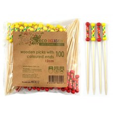 Decorated Pick Colour Ends Woven 12cm (Red&Yellow) Pack 100