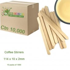 Coffee Stirrers 114 x 10 x 2mm (10 x Pk1000) Ctn 10000
