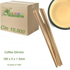 Coffee Stirrers 190 x 5 x 1.3mm (10 x Pk1000) Ctn 10000