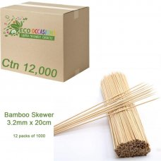 Bamboo Skewer 3mm x 20cm (12 x Pk1000) Ctn12000