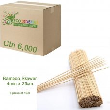 Bamboo Skewer 4mm x 25cm (6 x Pk1000) Ctn6000