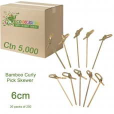 Bamboo Curly Pick Skewer 6cm Natural (20 x Pk250) Ctn5000