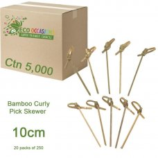 Bamboo Curly Pick Skewer 10cm Natural (20 x Pk250) Ctn5000