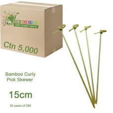 Bamboo Curly Pick Skewer 15cm Natural (20 x Pk250) Ctn5000